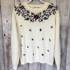 Vintage Floral Embroidered 90's Sweater Size Large